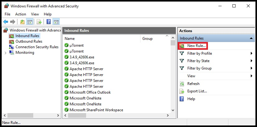 Advenced security new rules firewall