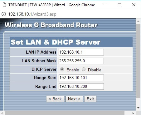 Configurare wizard router set lan dhcp
