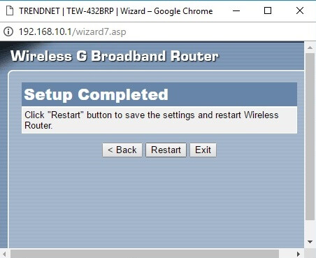 Configurare wizard router setup completed