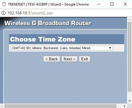 Configurare wizard router time zone