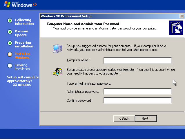 Instalare Windows XP Aministrator Password