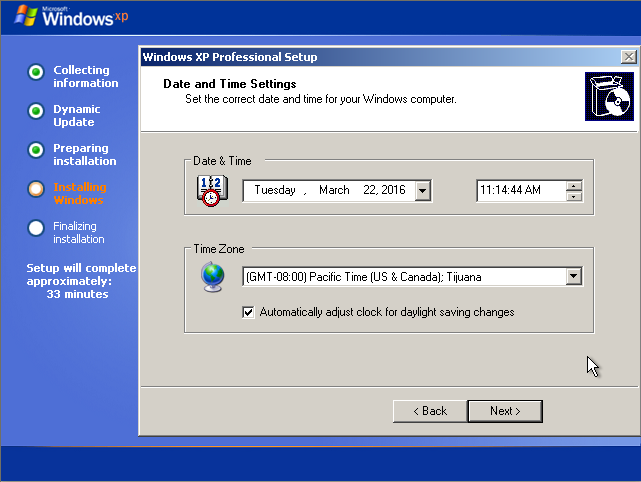Instalare Windows XP Date and time
