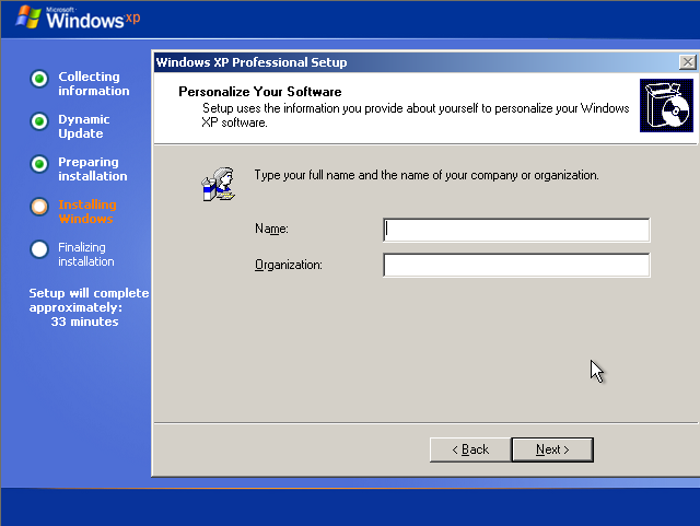 Instalare Windows XP Name Organization