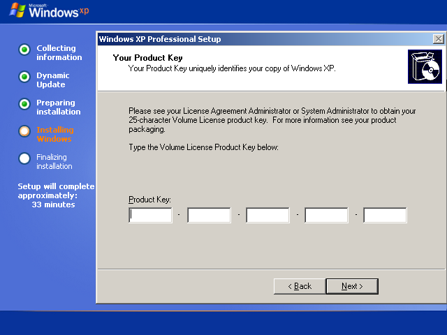 Instalare Windows XP Product Key