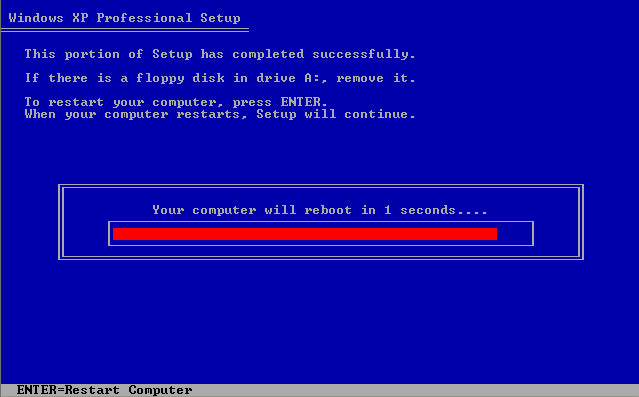 Instalare Windows XP Reboot