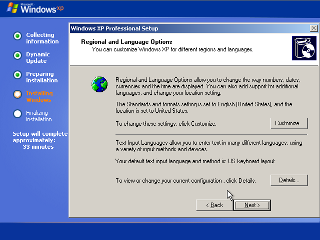 Instalare Windows XP Regional Settings