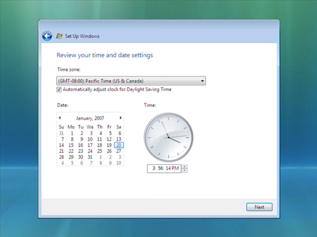 Vista review time and date