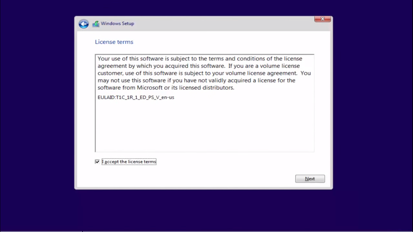 Windows 10 Accept license
