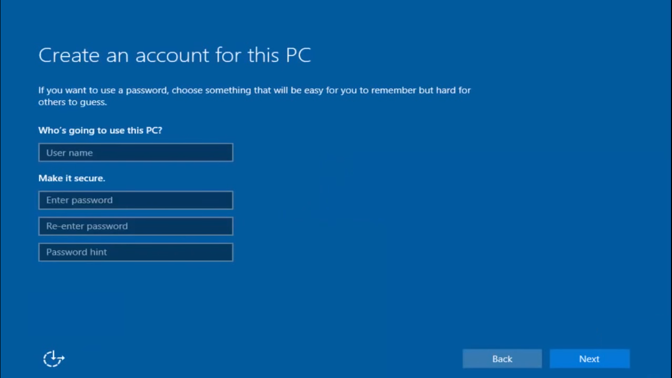 Windows 10 Create an account for this PC