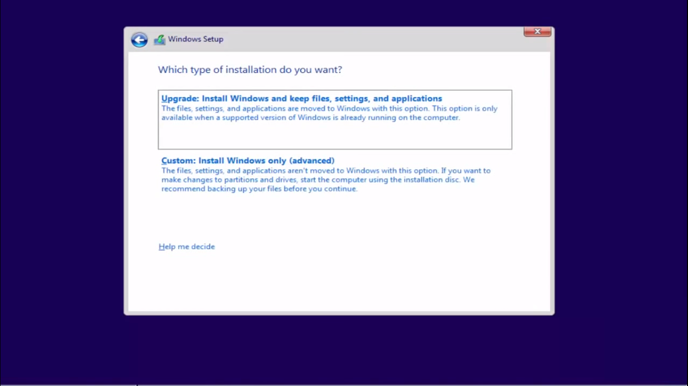 Windows 10 which type of installation