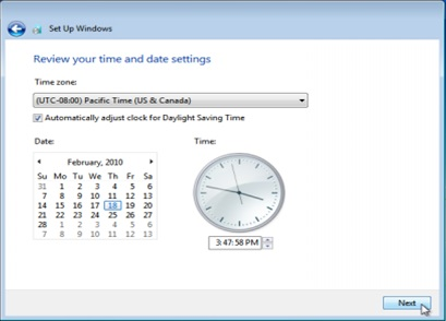 Windows 7 Review your time and date settings