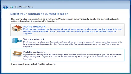 Windows 7 Select your computers current location