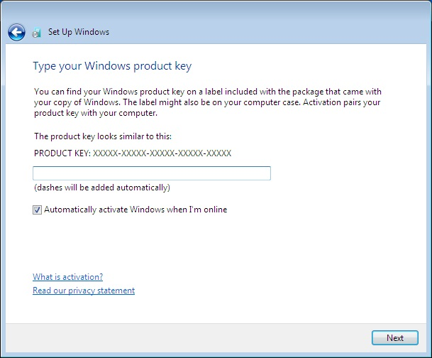 Windows 7 Set Up Wiindows Type your product key