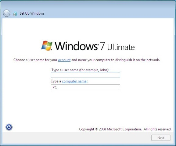 Windows 7 Set Up Wiindows user