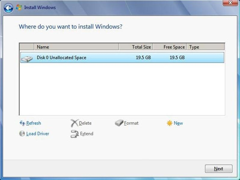 Windows 7 Where do you want to install
