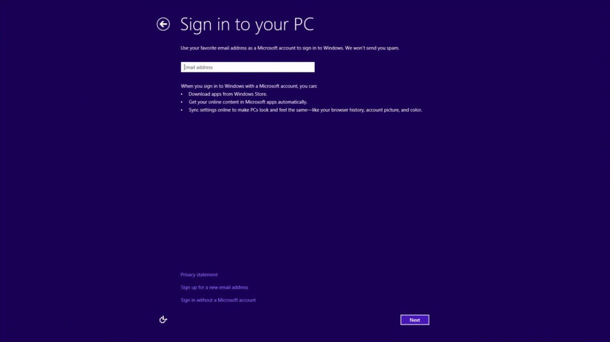 Windows 8 Sign in to your PC