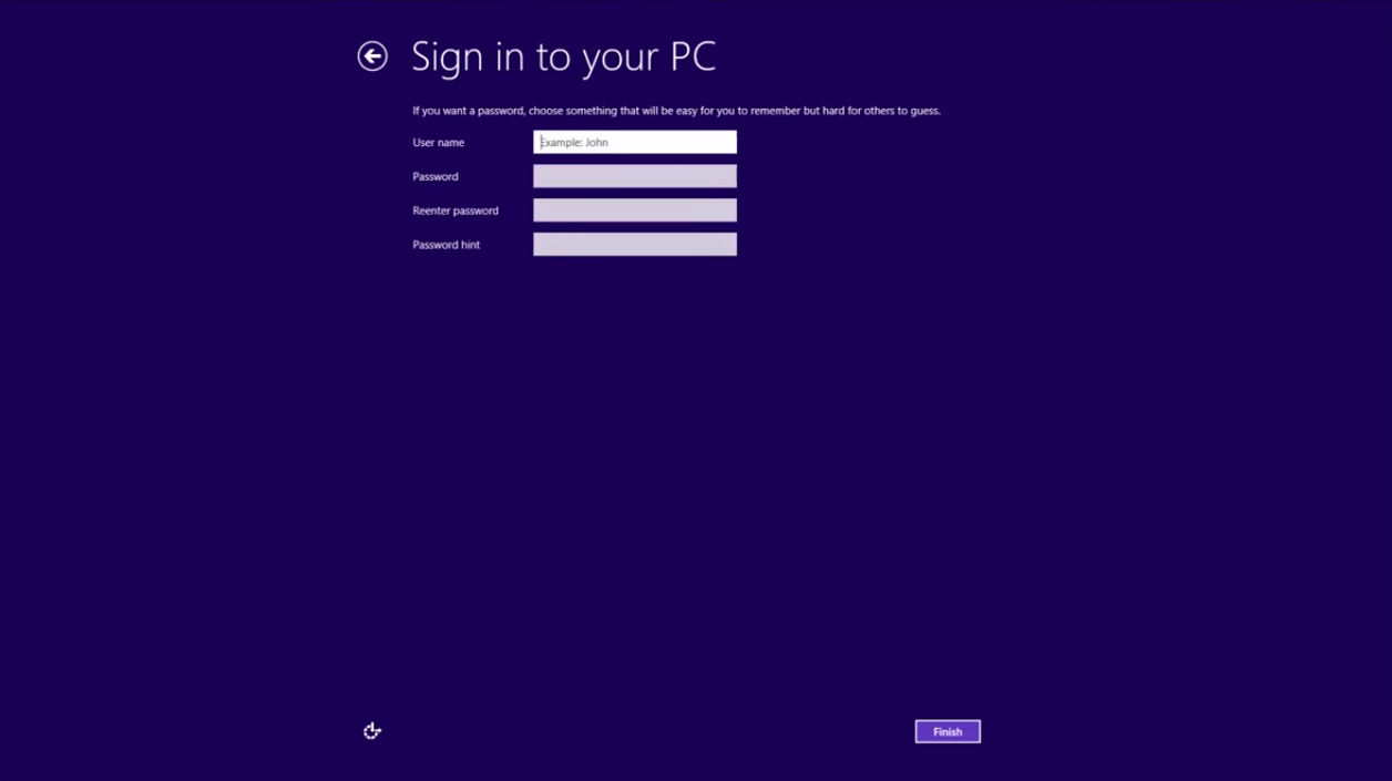 Windows 8 Sign in to your PC5
